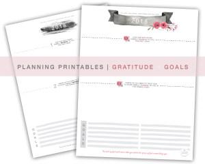2018 Planning Printables | Goals + Gratitude | Hope Ink