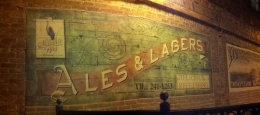 Panoramic view of the murals outside Maumee Bay Brewing