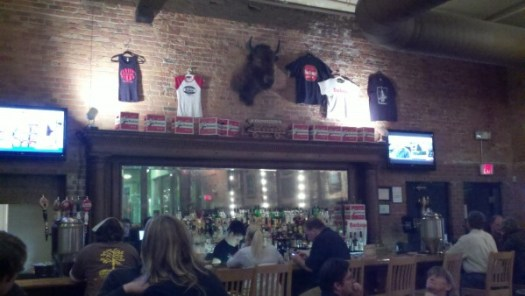 The bar at the Maumee Bay Brewing brewpub