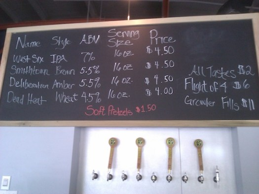 Taps and taplist at West Sixth Brewing Company
