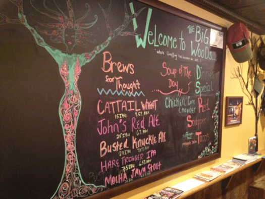The beer lineup at Big Woods Brewing