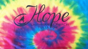 A tie-dye swirl that says Hope Unitarian Church