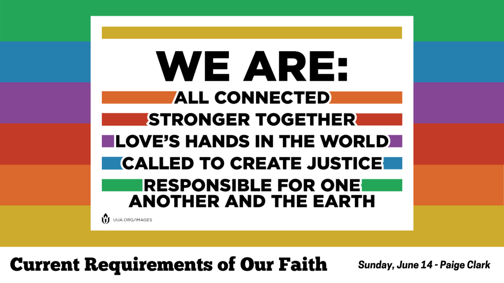 A multi-colored background with a statement from the Unitarian Universalist Association