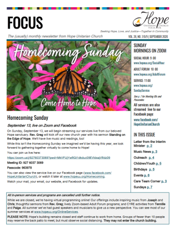 Picture of the front cover of the Focus newsletter with a butterfly and the words Homecoming Sunday