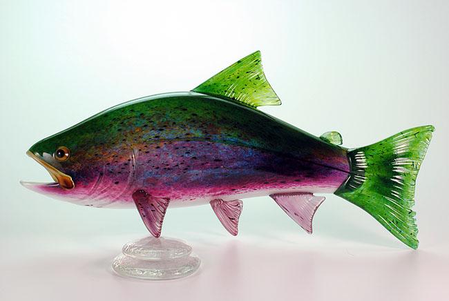 Rainbow Trout Hopko Art Glass
