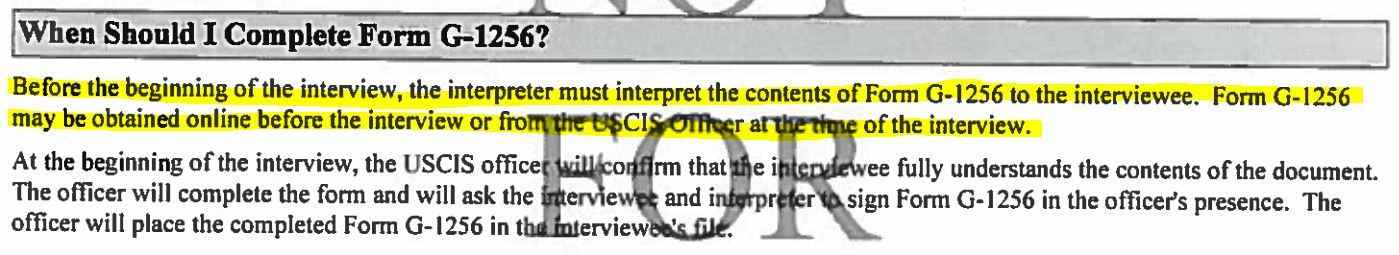 New Rule On Interpreters At Uscis Interviews Form G 1256