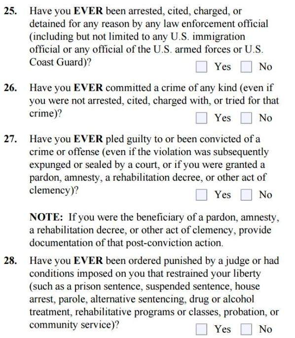 Inadmissibility Questions