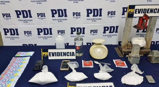Cauquenes: PDI desbarató laboratorio clandestino de drogas. Un kilo de cocaína  incautada