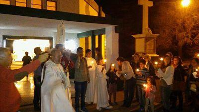 Aniversario de la Virgen en Portugal, en la capilla de Fátima