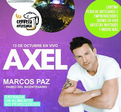 Axel cantará gratis, en Marcos Paz
