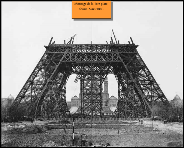 Torre Eiffel Construção - Montagem da 1a, Plataforma - março 1888