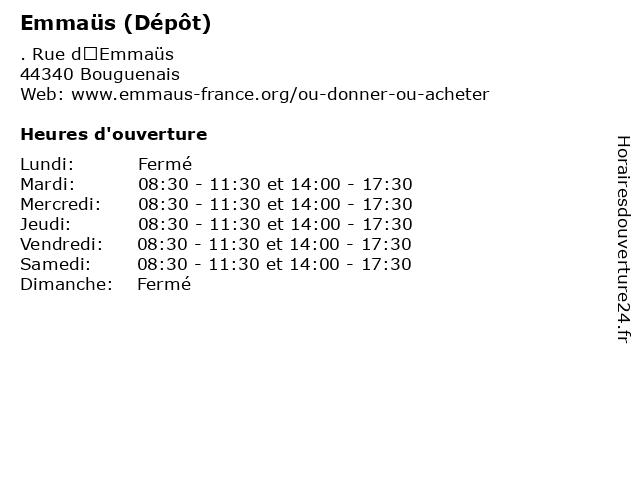 ᐅ horaires d ouverture emmaus depot