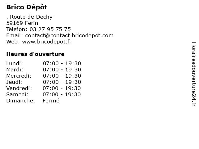 ᐅ horaires d ouverture brico depot