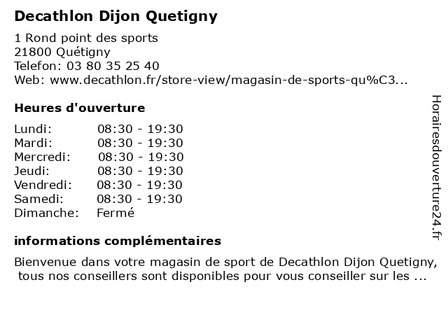 decathlon quetigny ouverture 52