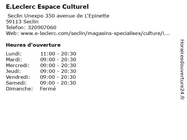 ᐅ e leclerc espace culturel horaires