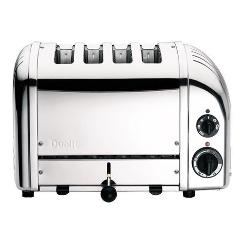 Illustratie: afbeelding van een broodrooster van Dualit met 4 sleuven aan de bovenkant van het apparaat.