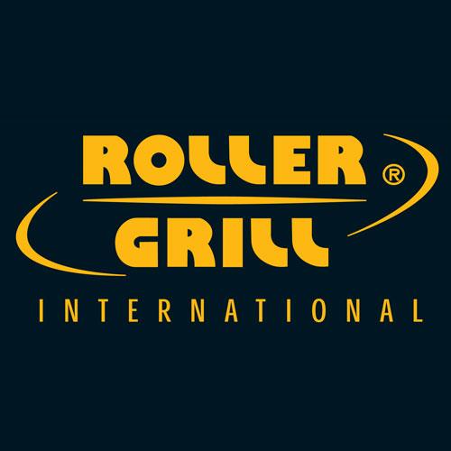 Illustratie: afbeelding van het logo van Roller Grill International. Het logo is een woordmerk waarbij Roller Grill International met gele letters wordt weergegeven op een zwarte achtergrond.