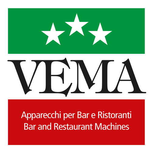 Afbeelding van het nieuwe logo van VEMA Mirano waarbij het reguliere logo op de Italiaanse vlag de Tricolore gelegd is.