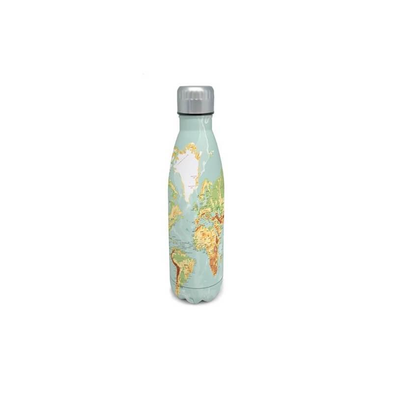 bouteille en inox double parois 50cl nerthus carte du monde vbfih515