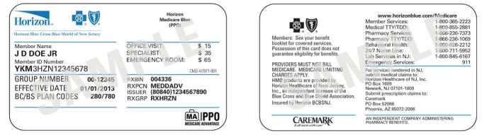 Blue Cross Shield Group Number On Card Ma on Horizon Blue Cross Shield Insurance Card
