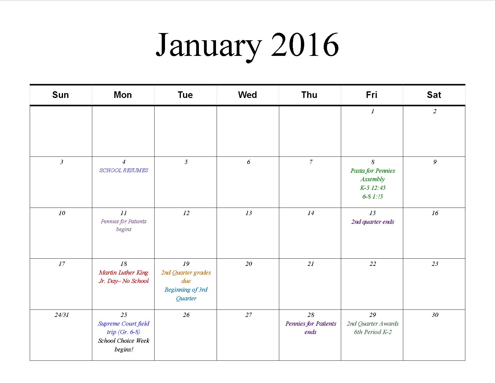 Activities Calendar January Horizon Science Academy Denison School K 8 By Concept
