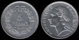 5 francs 1949 lavrillier alu
