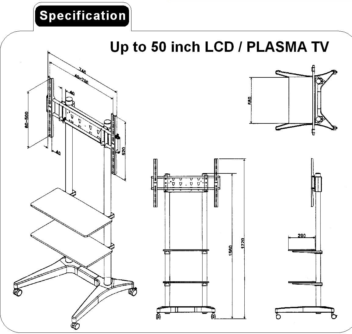Queenie A330 Trolley Stand 2 Wooden Shelves 32