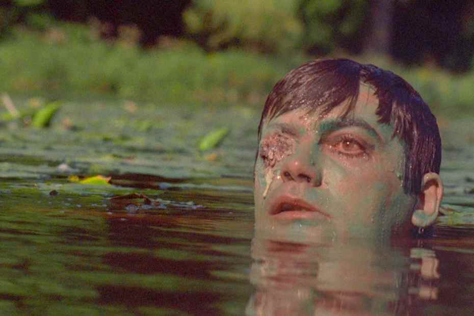 Zombie head poking out of the water in Zombie Lake
