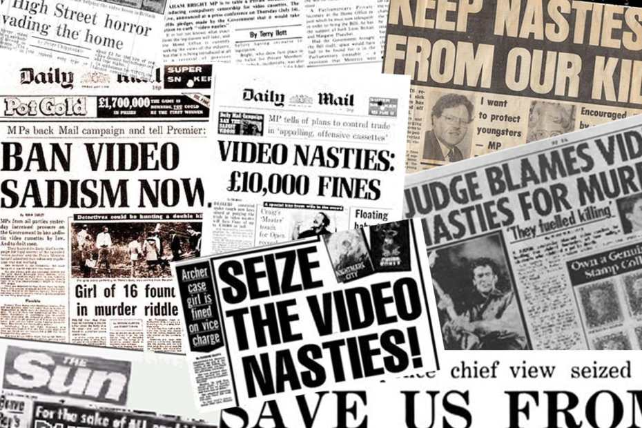 british video nasties mural of tabloid headlines
