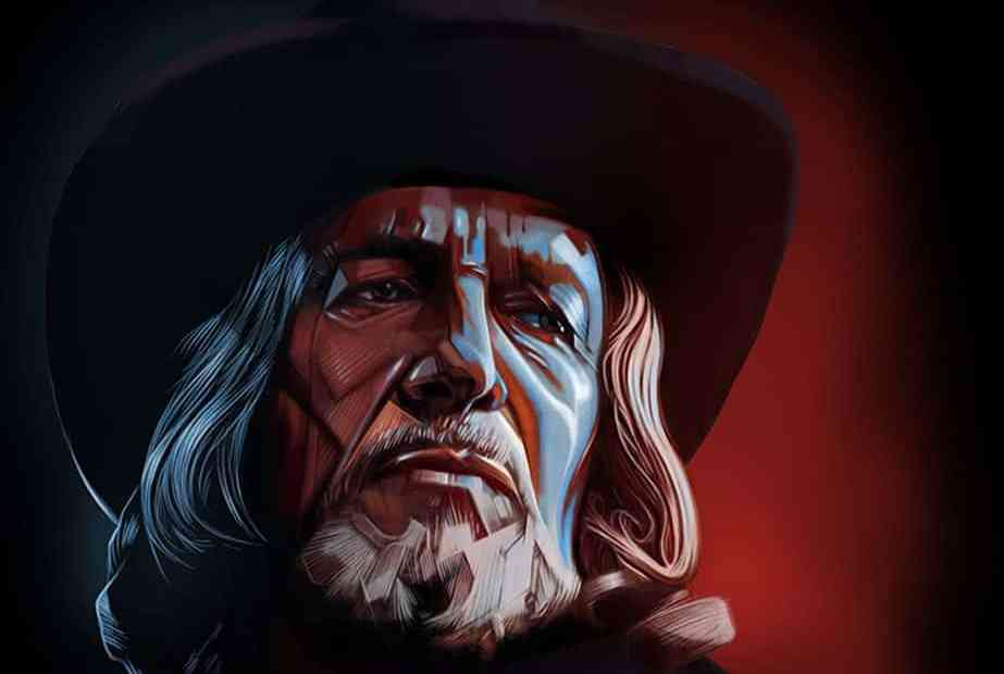 illustration of Vincent Price in Witchfinder General