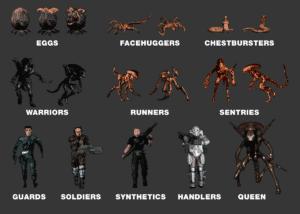 Alien Trilogy Enemies