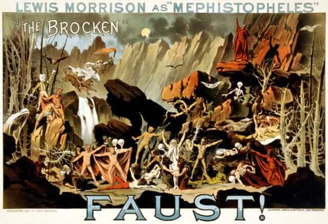 The Brocken Lewis_Morrison_as_-Mephistopheles-_in_Faust!,_performance_poster,_1887