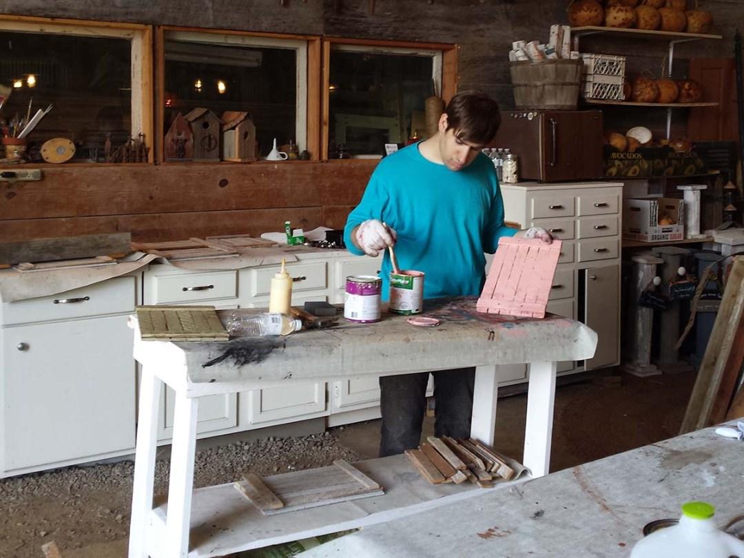 Kaleb painting pink