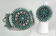 Zuni petit point turquoise bracelet and ring set