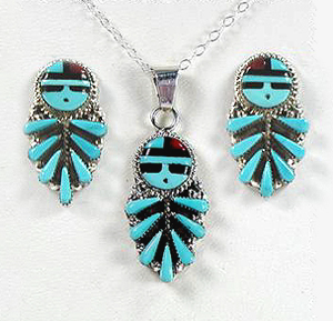 Zuni Petit Point Sun God earrings