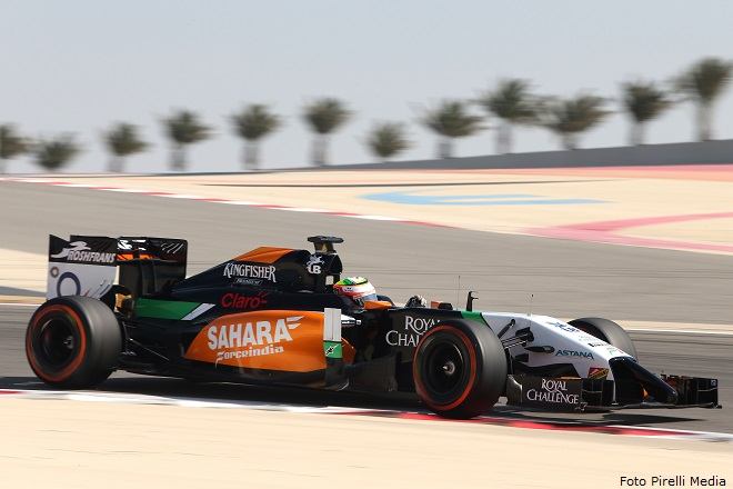 Sergio Perez, su Sahara Force India-Mercedes (Foto Pirelli Media)