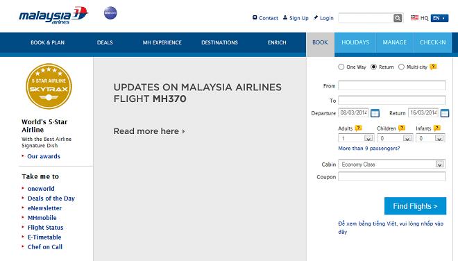 """Il sito web della Malaysia Airline """"oscurato"""" da ogni tipo di messaggio promozionale e con il link alle informazioni sull'incidente"""