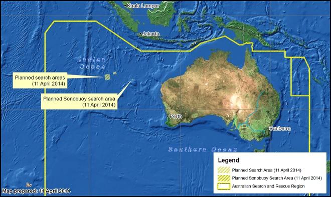 La mappa delle ricerche di oggi (tra Europa e Australia Occidentale c'è una differenza di 10 ore. Immagine via AMSA, Australian Maritime Safety Authority)