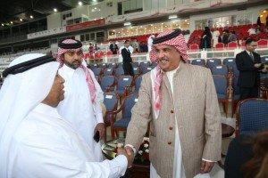 Lt General Sheikh Mohammed bin Isa Al Khalifa greets Ali Moosa Al Khamri, General Manager of Dubai Equestrian Club