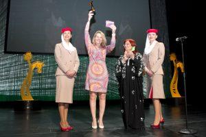 Karin van den Bos accepts International Darley Best Trainer Award 2014