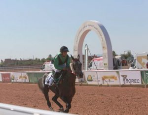 Zineb El Briouil rides Fehria in first race at Hippodrome to Marrakesh 7 May 2017