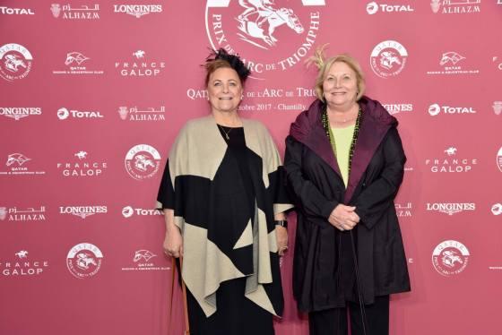 Sue Meyer (l) and Kathy Smoke at the Qatar Prix de l'Arc de Triomphe weekend 2017