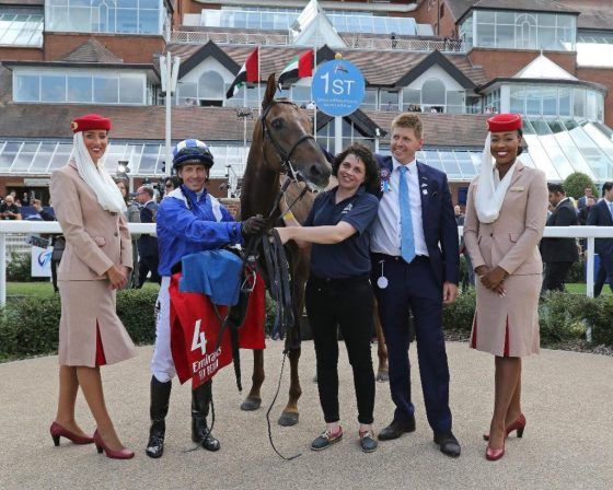HH Sheikh Hamdan Al Maktoum's Al Azeeza with Jim Crowley and James Owen after winning at Dubai International Arabian Races at Newbury 2019