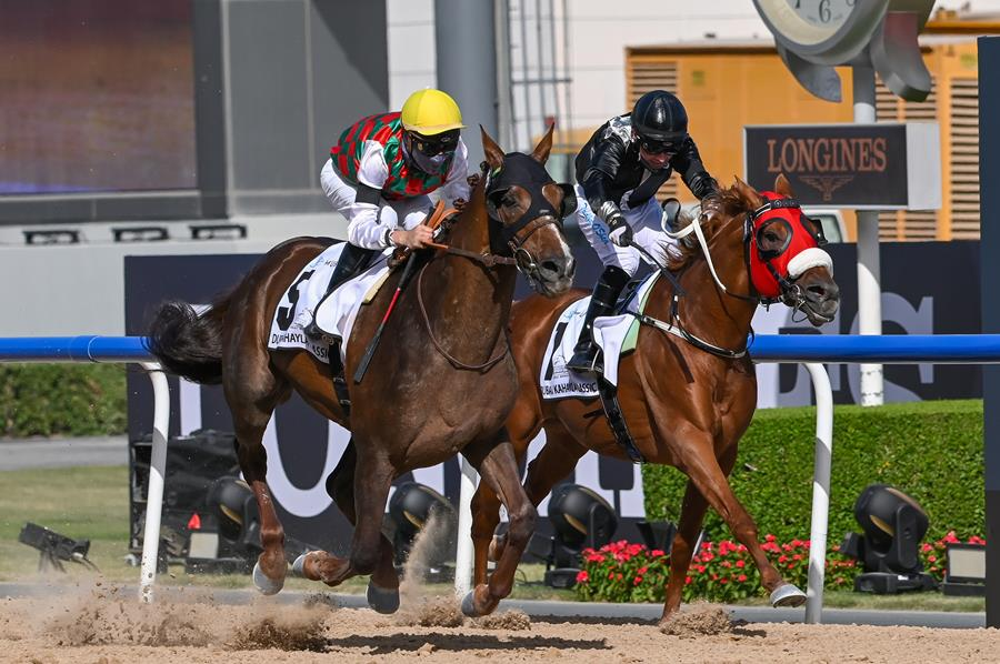French runner Deryan takes the Dubai Kahayla Classic in a rapid time at Meydan (Credit - DRC & Mathea Kelley)