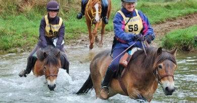 Mary Hannah (58) on Kingsby Nutmeg and Katie Hannah (59) on Kingsby Elderberry Bronze, crossing the ford at Nethercote. Both are native Exmoor Ponies.