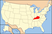 Map showing location of Kentucky in the US.