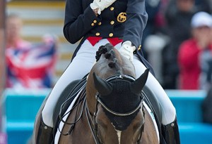 Charlotte Dujardin (GBR) and Valegro after their test in the final of the Olympic dressage team event. ©