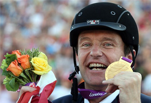 Pepo Puch of Austria with his gold medal after the Grade 1b Freestyle Test.