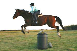 Kimberley Crack, a member of the Invercargill-Kennington Pony Club, near Invercargill, New Zealand, jumps Sunny Brae Rose Maree.