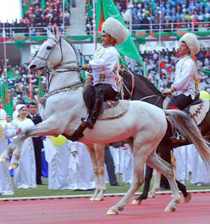 President Gurbanguly Berdimuhamedov rides an Akhal-Teke on National Horse Day.